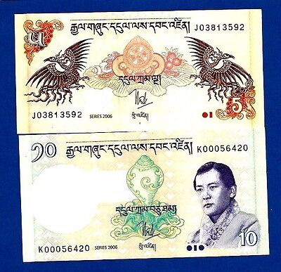 Bhutan 5,10 Ngultrum P28/9 Unc 2006 Birds And King