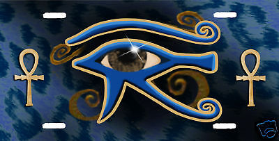 All Seeing Eye Of Ra Blue Leopard Auto License Plate Personalize Name Text