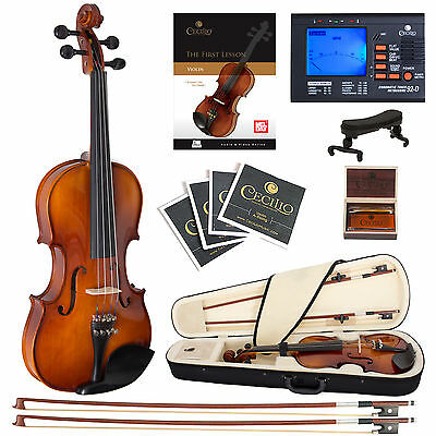 Cecilio 4/4 CVN-320L Left Handed Ebony Violin +Book/Video+Tuner+Case