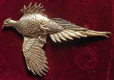 Large Pewter Rising Pheasant Hunting Brooch Pin  Signed