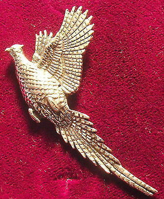 Pewter Rising Pheasant Hunting Brooch Pin  Quality