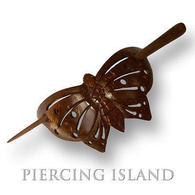Hairclips barretts hairpins butterfly coconut shell wood organic HS33  jewelry