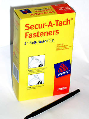 "1000 Avery 18800 Secur-A-Tach 5"" In Inch Tag Clear Nylon Fasteners"