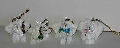 Angel Bear Ornaments. Set of 4. Hang or Sit. Polyresin, 1 1/4 x 1 1/2 Inches