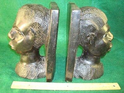 Antique Ebony Hand Carved African Figural Bookends