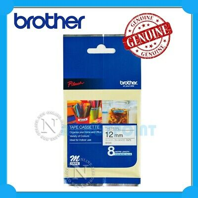 """Brother P-touch M-K231 Tape (1/2"""") 12mm x 8M Black-On-White for PT-55 Labeller"""