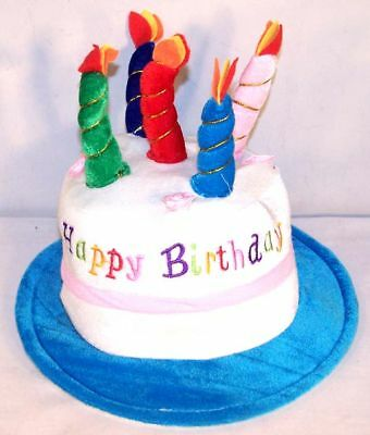 HAPPY BIRTHDAY CAKE BLUE PARTY HAT plush novelty cap party supplies candles new
