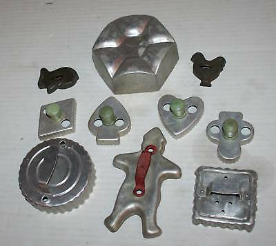 9 Vintage Cookie Cutters Card Suits Man Animals Old