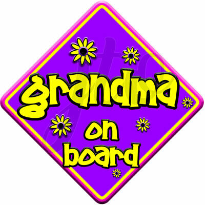 FLORAL~ Non Personalised Purple & Pink ~ GRANDMA ~ Baby on Board Car Window Sign