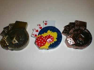 SET OF 3 GAMBLING LIGHTERS (POKER DICE PKR CHIP 1OfEach