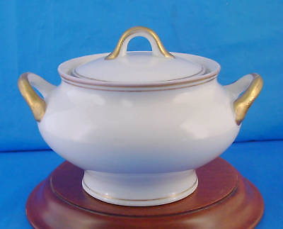 O.P.CO.SYRACUSE CHINA WHITE GOLD TRIM ANTIQUE Large Sugar Bowl, Inside Chip Flaw