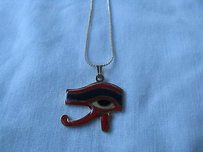"""Egyptian Gold Plated Eye Of Horus Red Blue Necklace 1""""X1"""""""