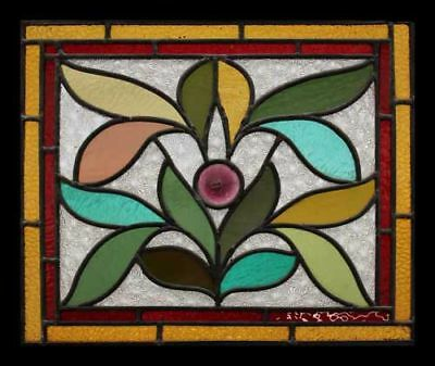 Art Nouveau Antique English Leaves Rondel Stained Glass Window
