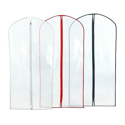 "3 Clear Showerproof Suit Covers Garment Clothes Protector Bags 40"" Hangerworld"