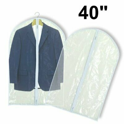 "6 Clear Showerproof Suit Covers Garment Clothes Protector Bags 40"" Hangerworld"