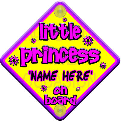 PERSONALISED Purple & Pink   FLORAL LITTLE PRINCESS   Baby on Board Car Sign