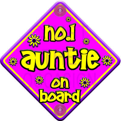 FLORAL NP Purple & Pink ~ NO.1 AUNTIE ~ Baby on Board Car Window Sign