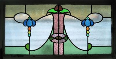 Art Nouveau Floral Antique English Stained Glass Window In Original Frame