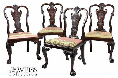 SWC-Four Highly Carved Chippendale Side Chairs