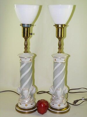 Pair  Rembrandt Figural Hollywood Regency Banquet Lamps