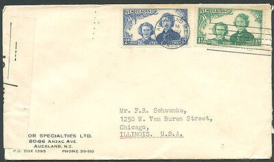 BRITISH NEW ZEALAND TO USA Old Censored Cover VF
