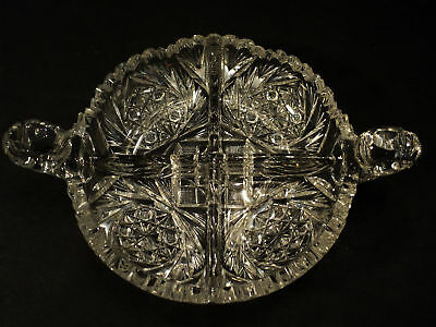 "Beautiful American Brilliant Period (Abp) Cut Glass ""caboret"" Divided Dish"