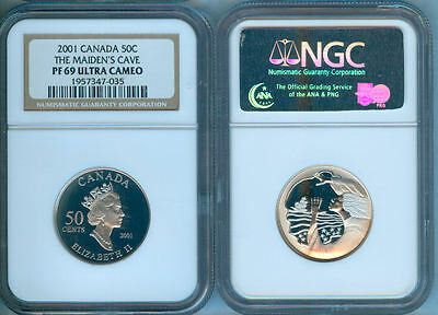 2001 Canada Silver Fifty Cents Maiden's Cave  Ngc Pf-69 Uc (Uhc)