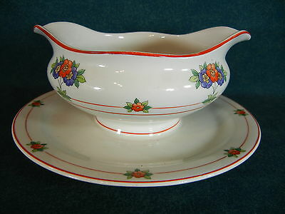 Syracuse Canterbury Rust Trim Gravy Boat on Fixed Stand