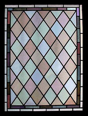 Fabulous Victorian Diamonds Antique English Stained Glass Window