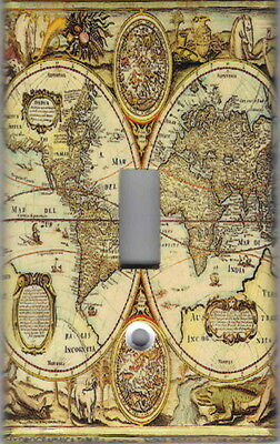 Old World Map Home Wall Decor Single Light Switch Plate Cover