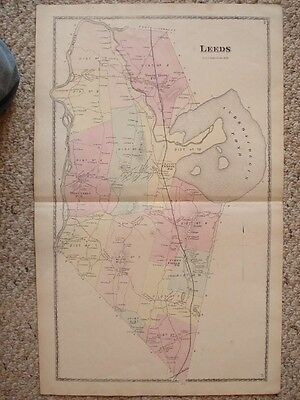 Large Antique 1873 Leeds Maine Handcolored Map W Land Owners Superb Rare Nr
