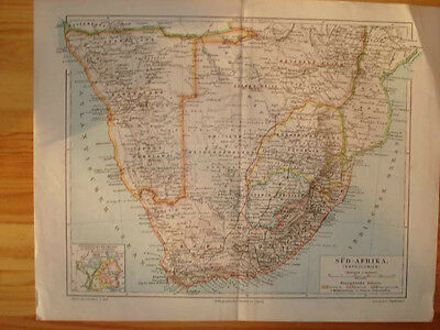 ANTIQUE MAP SOUTH AFRICA German Made BRITISH FREE STATE