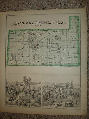 Lafayette Township Ogle County Illinois Antique Map Nr
