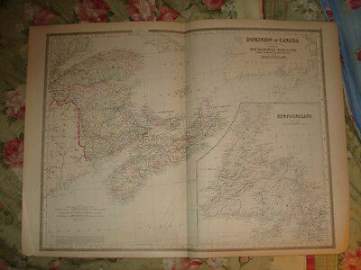 Huge Superb Antique New Brunswick Nova Scotia Canada Handcolored Map