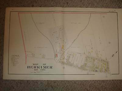 1906 Herkimer City County New York Antique Handcolored Map Huge Plate 4 Fine Nr