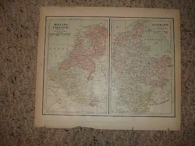 Antique Map Holland Belgium Denmark Sweden Norway Nr