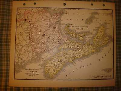 Antique Canada Map New Brunswick Nova Scotia Railroad N