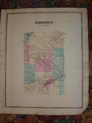 Antique 1873 Addison Township Steuben County New York Handcolored Map Rare Nr