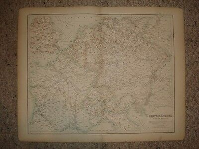 Lrg Antique Map France Germany Austria Railroad Railway