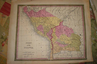 Antique Cowperthwaite Map Peru Bolivia South America Nr