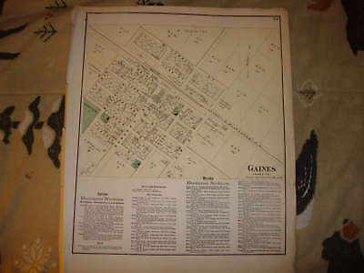 1873 GAINES GENESEE COUNTY MICHIGAN ANTIQUE MAP Rare NR