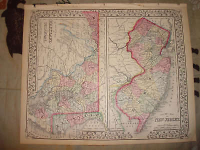 1870 Antique New Jersey Maryland Delaware Handclr Map N