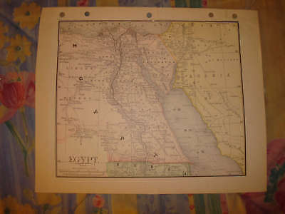 Antique Egypt Color Map Cairo Superb Detailed Rare Nr