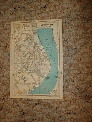 ANTIQUE MAP LONDONDERRY IRELAND Superb Detail Rare NR