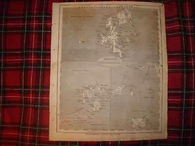 1805 Antique Shetland Scilly Jersey Islands England Map