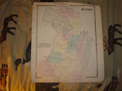 1872 Acton York County Maine Antique Handcolored Map Nr