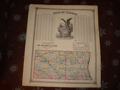 1875 McHENRY LAKE COUNTY ILLINOIS ANTIQUE HANDCLR MAP N
