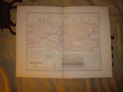 1850 Antique World Map Currents Meteorology Oceans Nr