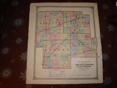 1875 Fayette Effingham Clay Marion County Illinois Map