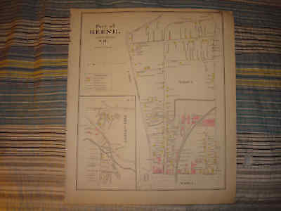 KEENE NEW HAMPSHIRE ANTIQUE HANDCOLORED MAP Rare NR